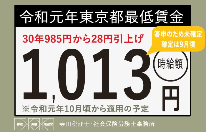 東京都最低賃金令和元年