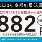 平成30年 京都府最低賃金が時給882円に決定!適用は10月1日から!