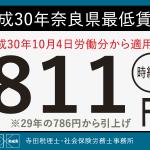 平成30年 奈良県最低賃金が時給811円に決定!適用は10月4日から!