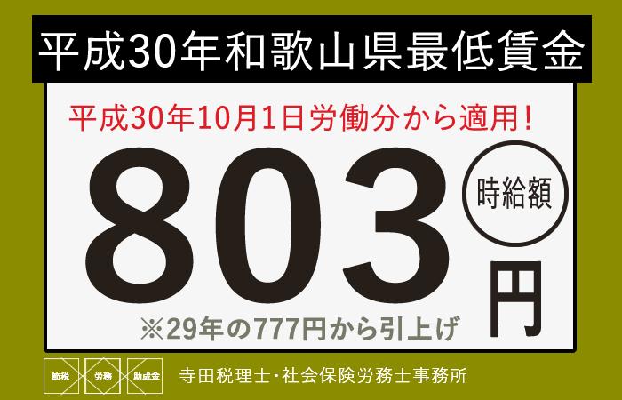 和歌山県最低賃金平成30年